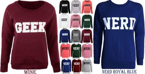Damen Sweatshirt Retro Rundhals Langarm Geek Aufdruck Pullover Damen