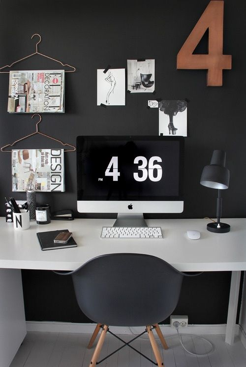 Computer desk/work area i love the cloths hangers!!