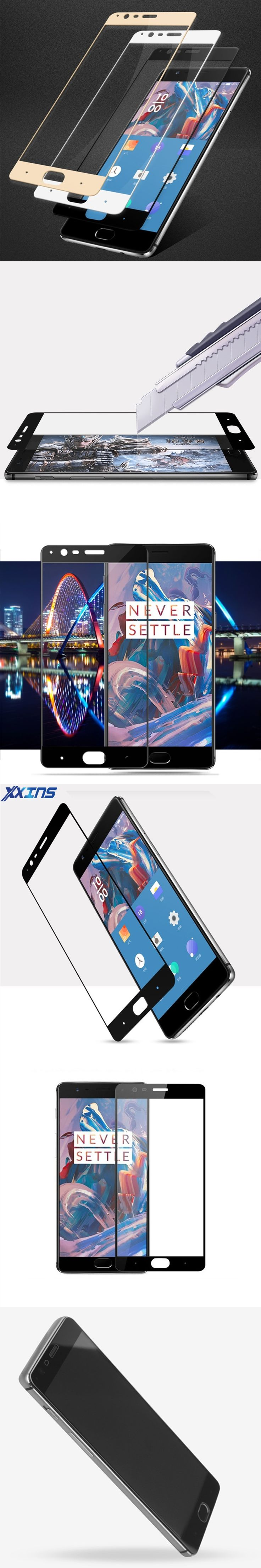 2017 Full coverage Tempered GLASS For One Plus 3T coloful mobile phone Screen Protector high quality anti scratch film case