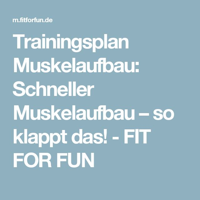 Trainingsplan Muskelaufbau: Schneller Muskelaufbau – so klappt das! - FIT FOR FUN