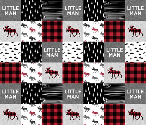 little man patchwork quilt top || buffalo plaid fabric by littlearrowdesign on Spoonflower - custom fabric