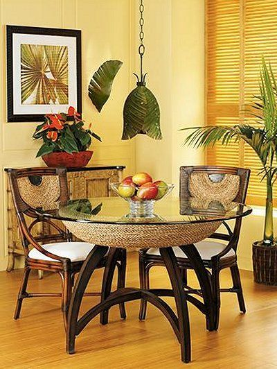 TROPICAL DECOR - unique table and chairs add a little jungle look to your beach house!  #barbsbeachhouse