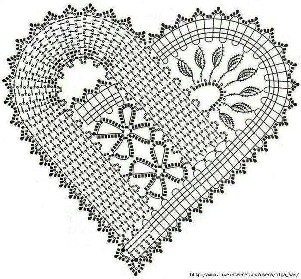 61 best CORAZONES EN CROCHET images on Pinterest | Crochet hearts ...