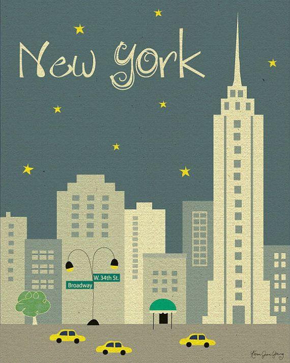 New York City, Manhattan Art Poster Print (2 color schemes - style E8-O- NY2 gray or style -  E8-O-NY2 orange)