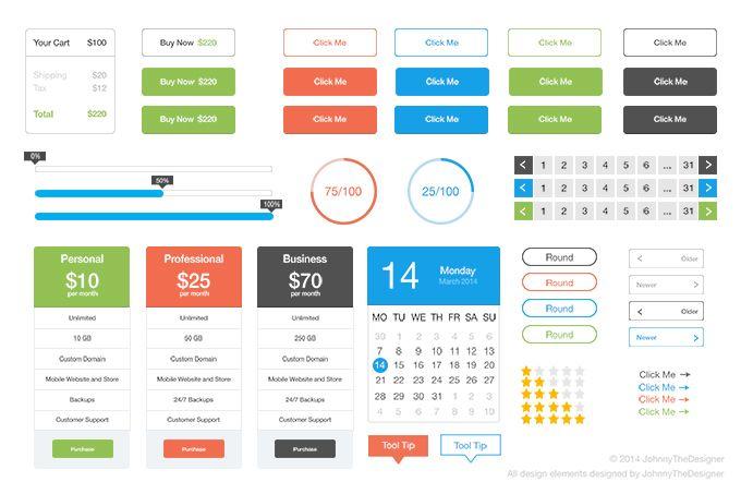 Free Flat UI Kit Set #UI #UX #kit #freebies #psd