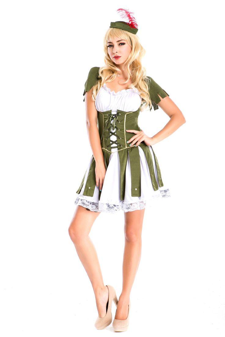 High Quality Halloween Costume Female Pirate Green Dress Robin Hood Play ITC856. - Women