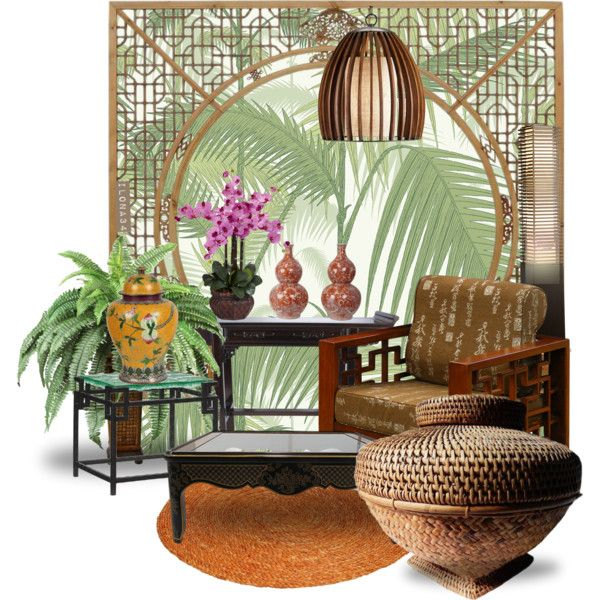 Tropical pattern. Jungle palm#1 by ilona2010 on Polyvore featuring interior, interiors, interior design, maison, home decor, interior decorating, Tommy Bahama, Nova Lighting, Cole & Son and Nearly Natural