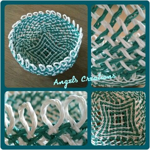 Ply-split-brading basket with paper-yarn, pattern Loopy bij Linda Hendrickson.