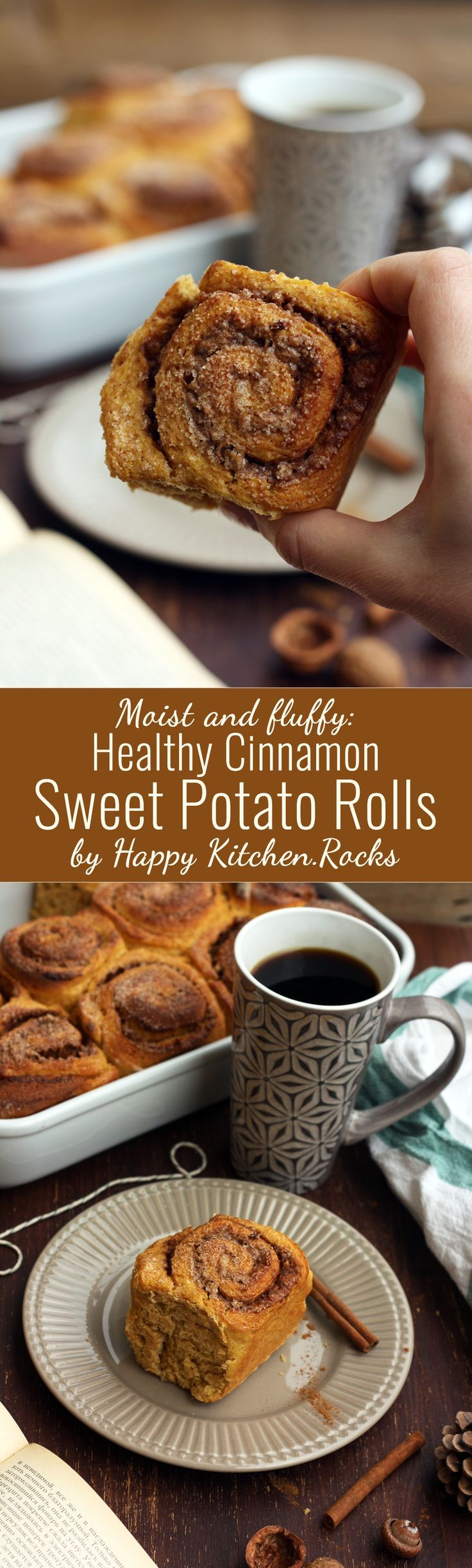 Healthy Cinnamon Sweet Potato Rolls recipe, perfect for fall or Thanksgiving breakfast or brunch. These rolls are delicious, moist, fluffy and easy to make!