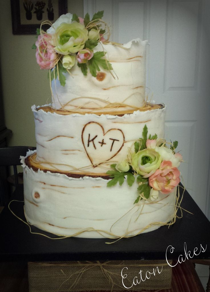 Birch wood wedding cake | Wood wedding cakes, Birch tree ...