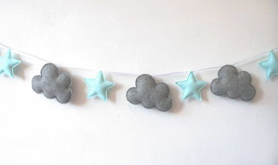 Cloud and Star Garland, Grey and Mint Green Garland, Felt Bunting, Felt Banner, Nursery Banner, Cloud Star Wall Decor MADE TO ORDER