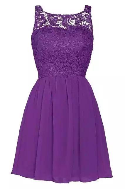 A buon mercato Sheer Neckline Coral Black Purple Silver Lace brevi abiti da damigella …