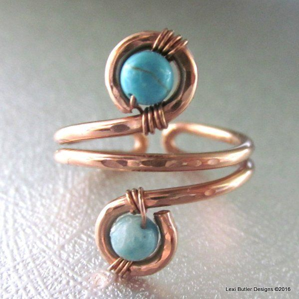 Adjustable Copper Turquoise Wire Wrap Finger Toe Ring
