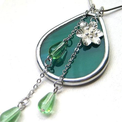 Stained glass pendant accented with silver flower and glass beads | Flickr - Photo Sharing!