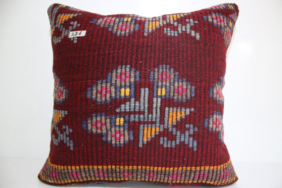 Kilim Coussin Vintage Turkse tapijt kussensloop Floral Pillow24x24 Decoratieve kilim kussens 24 x 24 Boheemse kussen Kilim kussen SP6060-286