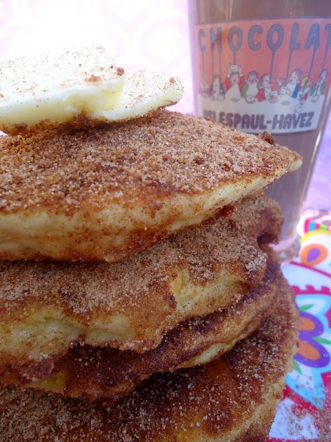 churro pancakes- just had these for breakfast a-mazing!!! So fluffy!