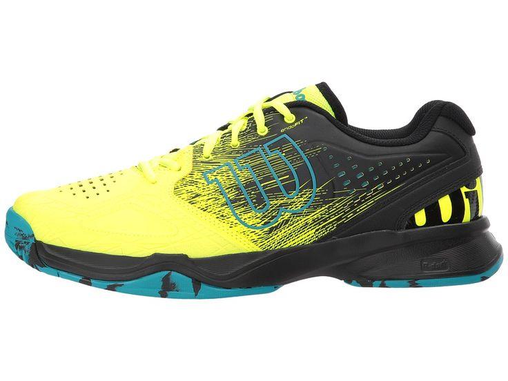 Wilson Kaos Comp Men's Tennis Shoes Safety Yellow/Black/Enamel Blue