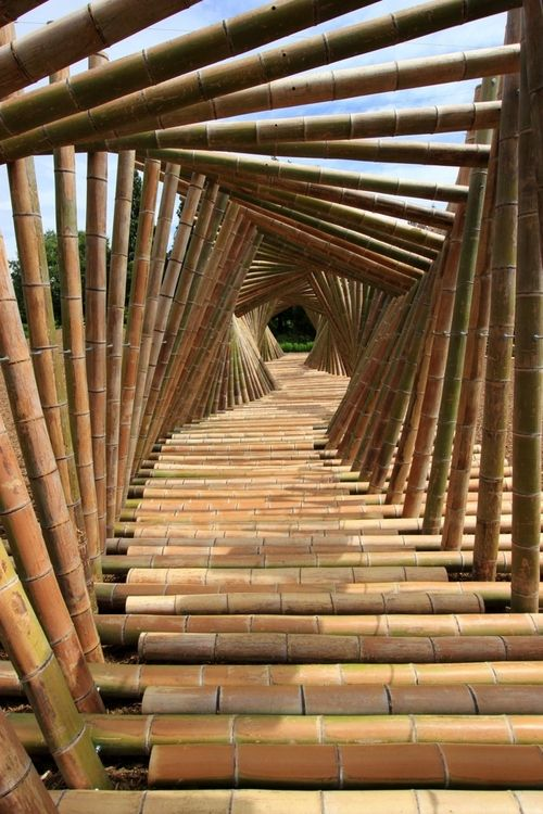 'LACHIKU' in Tokyo by Kazuya Iwaki...      The most amazing bamboo bridge (art installation) I've ever seen...The whole creation of it is quite a visual also!   http://www.youtube.com/watch?v=-hpUNNk4MjE