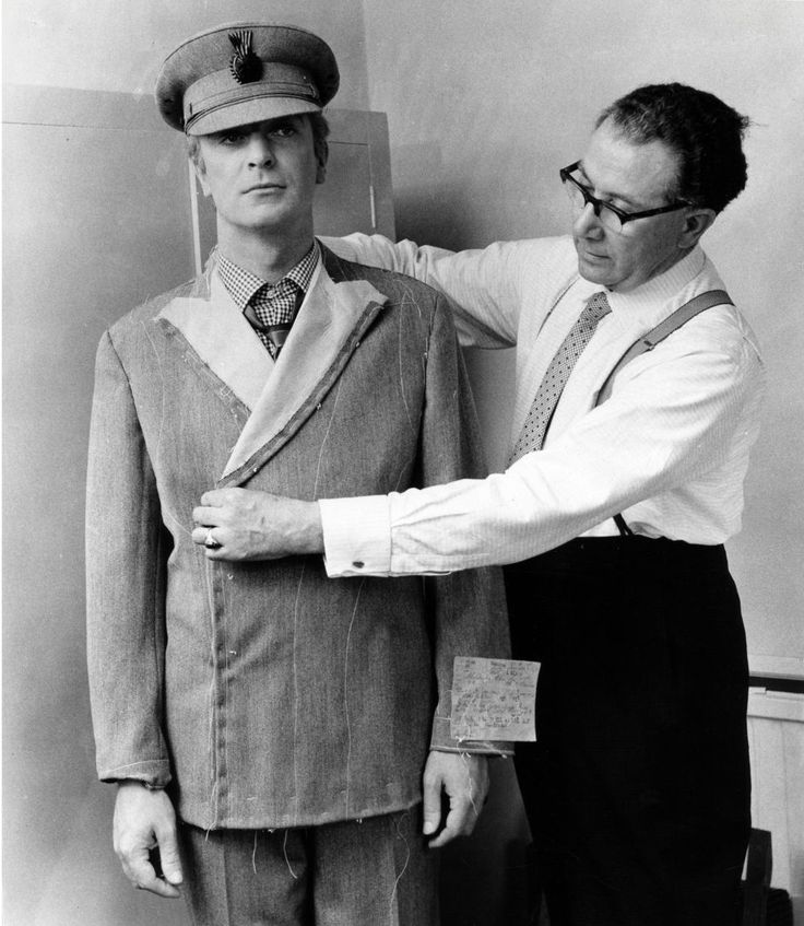 Tailor Doug Hayward with Michael Caine on the set of Alfie, 1966, directed by Lewis Gilbert.