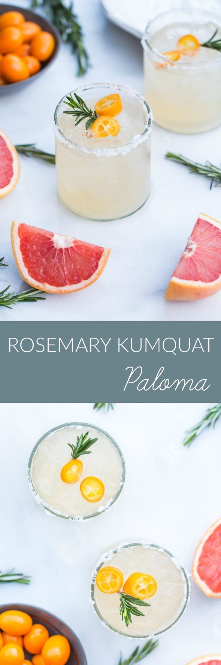 Try a Rosemary Kumquat Paloma, a seasonal take on the tequila and grapefruit based cocktail, elevated with rosemary simple syrup and muddled kumquats.