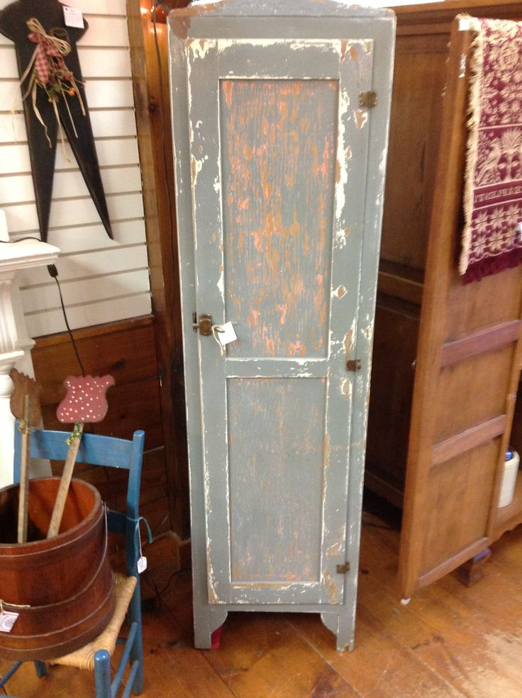 Shabby chic rustic pantry linen cabinet aged 39 n for Blue distressed kitchen cabinets
