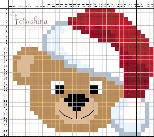 orso, orsetto natale schema punto croce - cross Stitch - Kreuzstich - Punto de Cruz