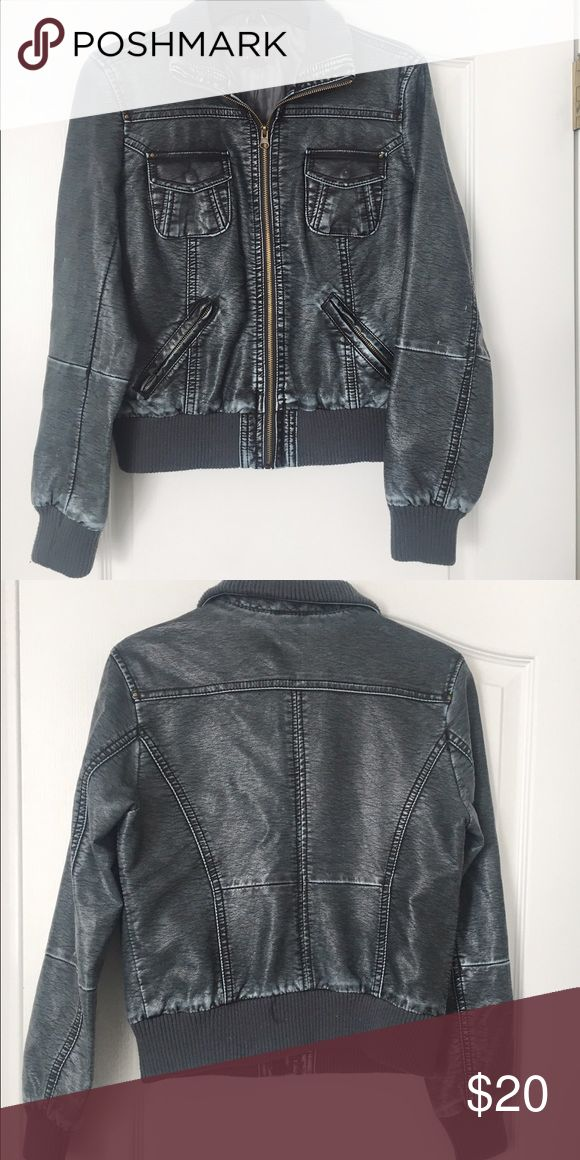 Blue Navy Leather Jacket Blue/Navy leather jacket, with 4 pockets and adjustable collar. Full zip. Only worn a hand-full of times. Forever 21 Jackets & Coats