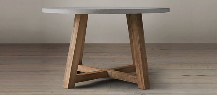 Mesa redonda madera concreto