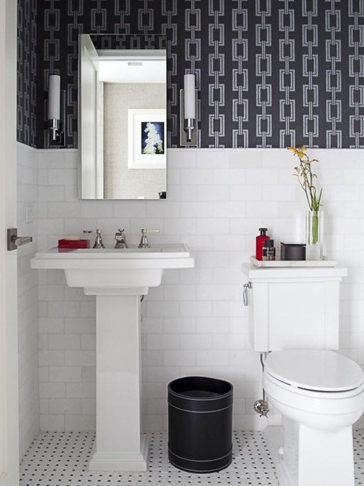 Creative Black and White Small Bathroom with Chains Bathroom Wallpaper Ideas    Home Inspiring. 17 Best ideas about Small Bathroom Wallpaper on Pinterest