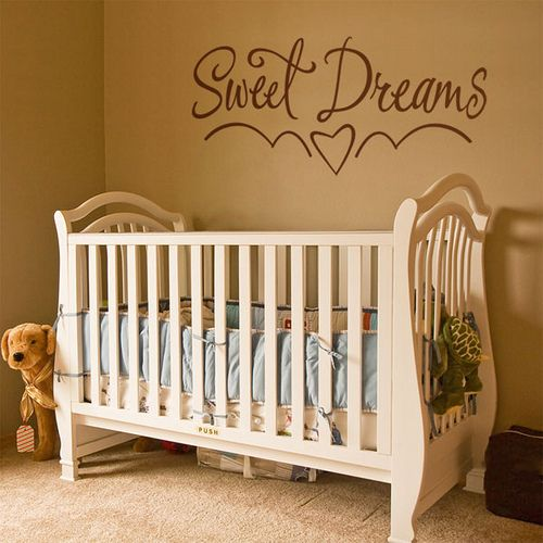 "love the ""sweet dreams"" above the crib!"