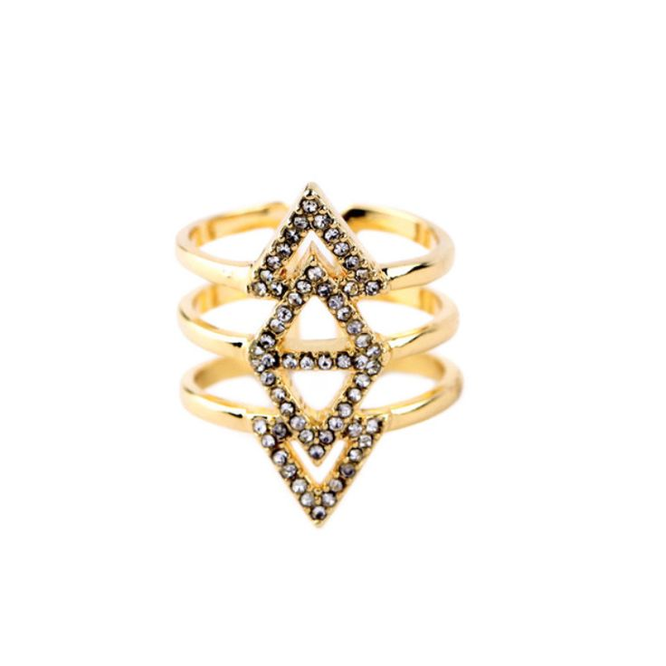 Beautiful modern gold pavé triangle ring.