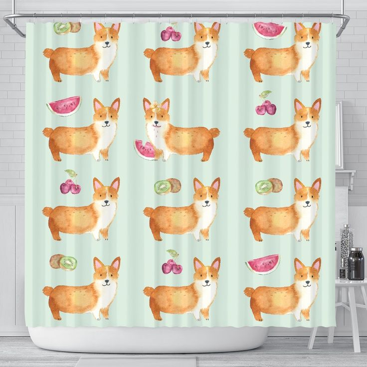 Corgi Fruit Shower Curtain Curtains Corgi Easy Install