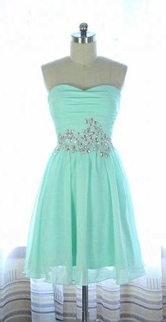 Prom: I love the color of this dress and it's not long. I don't really like wearing long dresses because it's harder to dance and not step on it. This dress would compliment my eyes, and fits me.
