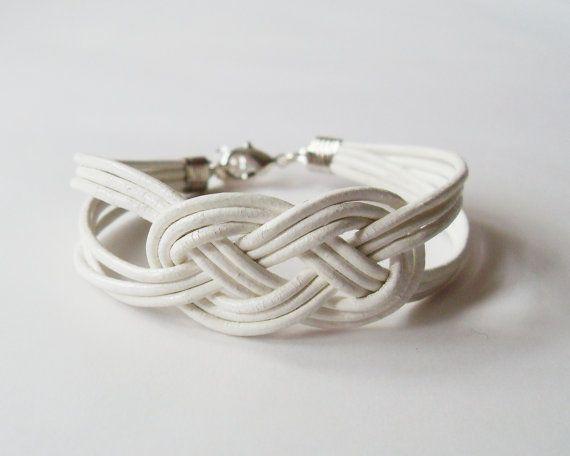 My Diy White Leather Strap Bracelet With Salior Knot By Starryday Products I Love Pinterest Bracelets And Sailor