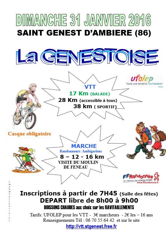 La GENESTOISE : Le club VTT de Saint GENEST vous donne rendez vous le :  Dimanche 31 janvier 2016  à  St GENEST d'AMBIERE (86) pour Randonnée VTT et Marche - (Fabien CHARREL + VTT St Genest)