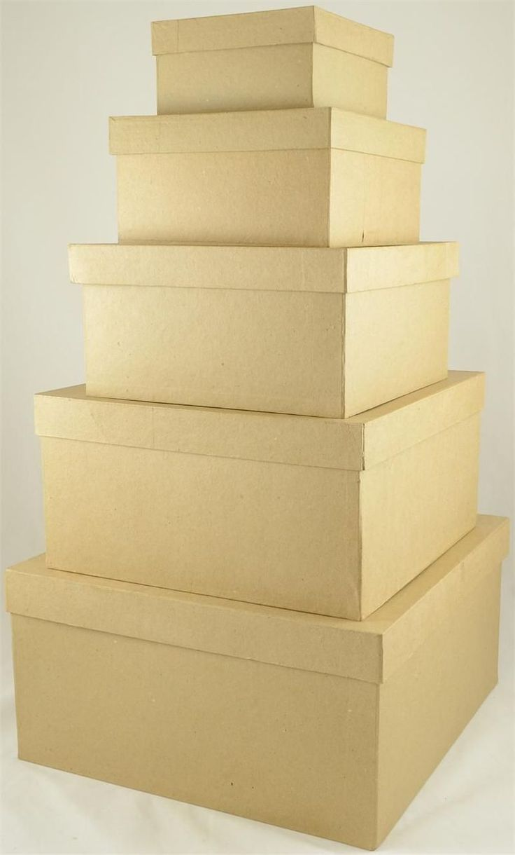 X Large Square Paper Mache Nested Box Set 5 Paper Mache