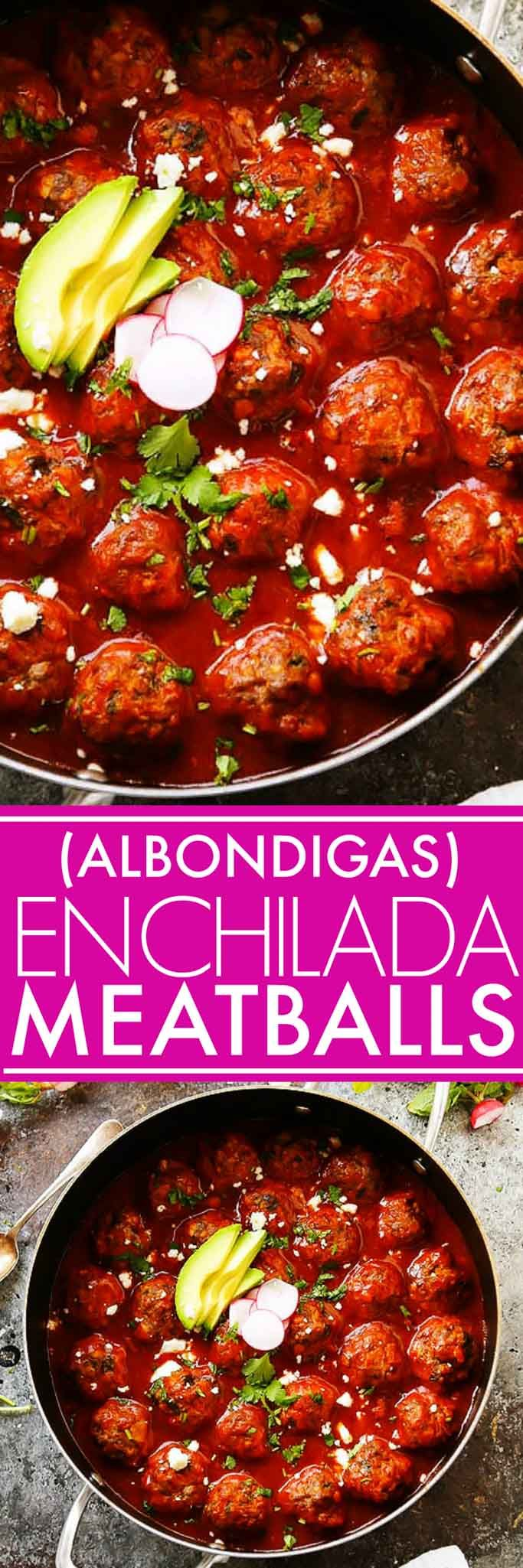 These Meatballs in Enchilada Sauce - or Albondigas - simmer in a richly spiced tomato sauce and are topped with lots of melty cheese. Served taco-style in tortillas with your favorite toppings. | platingsandpairings.com