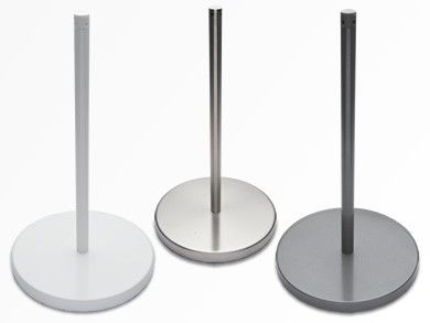 The stable steel base and upright supports an elasticated cord that defines restricted access but gives to the touch without tripping or injury.