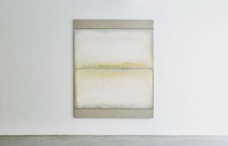 Richard Höglund, Sea Picture LIX (Primary Colours, YELLOW), 2016, silver, tin, lead and oil on linen prepared with bone pulver and marble dust, 226 x 183 cm. Ronchini Gallery, London, UK.