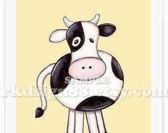 Baby nursery estampes, décor de pépinière, art animal de ferme, vache, peinture, mes Moo Moo 8 x 10 impression enfants sticker, décoration de chambre bébé garçon