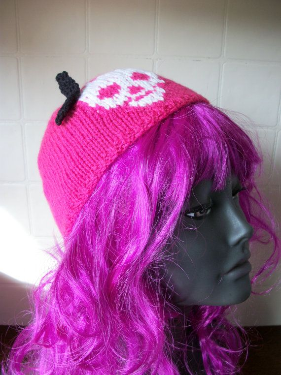Skull and Bow hat Girls Teens Goth Emo by thekittensmittensuk, £13.99