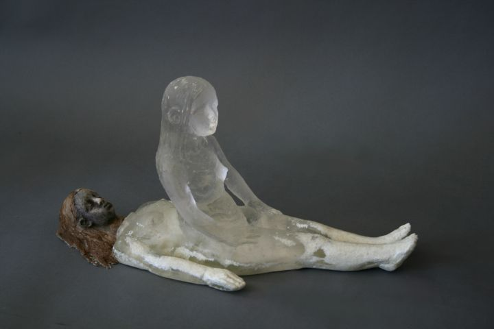Christina Bothwell When You Sleep   cast glass and raku fired clay   9 x 19 x 8 inches