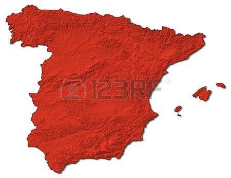 mapa en relieve de España en rojo. Foto de archivo