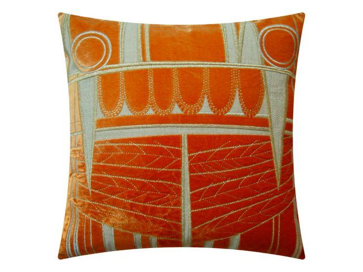Edgar, mandarin orange on natural linen 47x47 cm, the velvet has been dip dyed by hand.