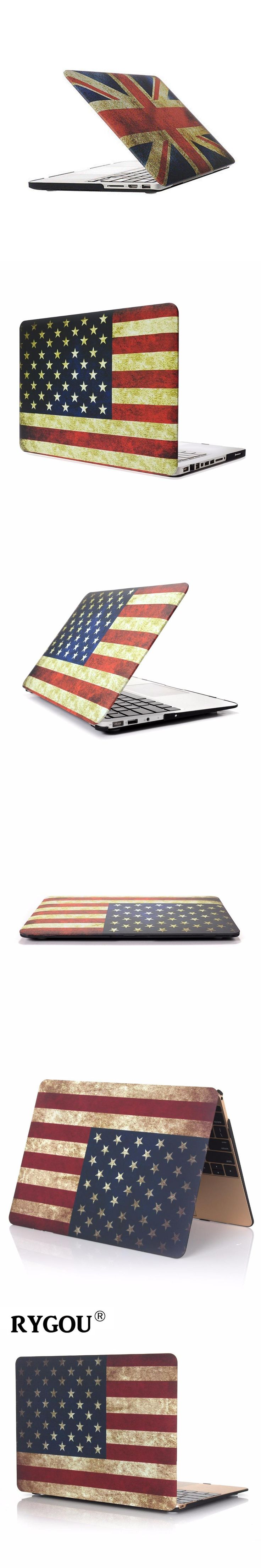 RYGOU Case for New Macbook pro 2016 US/UK Flag Rubberized Finsh Hard Case for Apple Macbook Air Pro Retina 11 12 13 15 inch