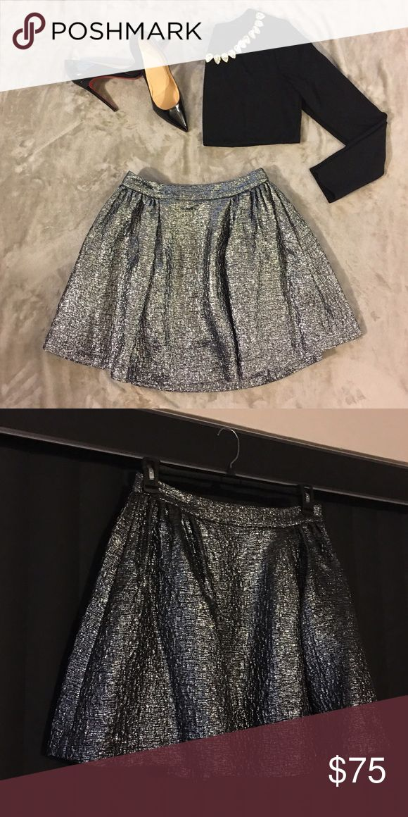 Kate Spade New York Skirt Kate Spade New York Skirt - Metallic Silver and Black Textured - Visible Back Zipper in Silver - Pockets - 32% Wool, 26% Nylon, 16% Silk, 15% Metallic, 11% Cotton - Excellent Used Condition kate spade Skirts A-Line or Full
