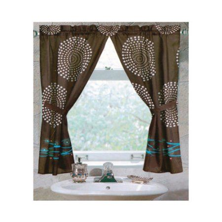 Carnation Home Fashions Hanover Double Swag Fabric Window Curtain Blue