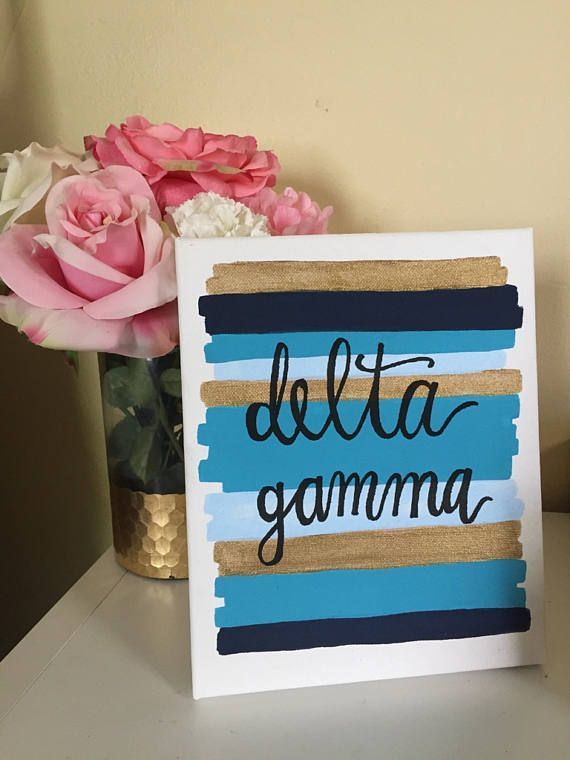 Delta Gamma Sorority Canvas Painting // Big Little Gift //