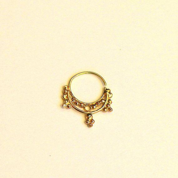NOSE RING, very cool.  Hindi Gold nose ring 14 karat yellow gold  by studiolil, $90.00