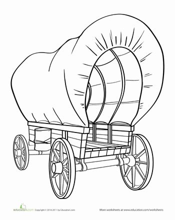 Worksheets: Color the Covered Wagon Home for pioneers as they traveled across the plains.  USA and a little in canada